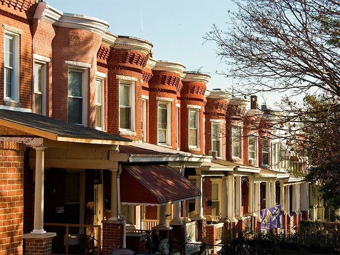 old rowhouses in Hampden, baltimore